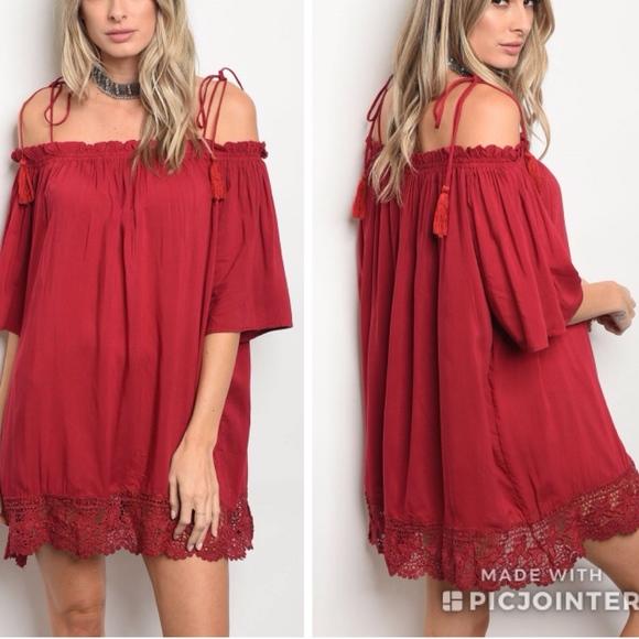 d875d362c995 Red Wine Tassel Off Shoulder Dress